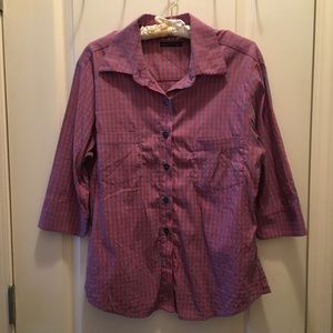 Anthropologie checkered stretch shirt size large